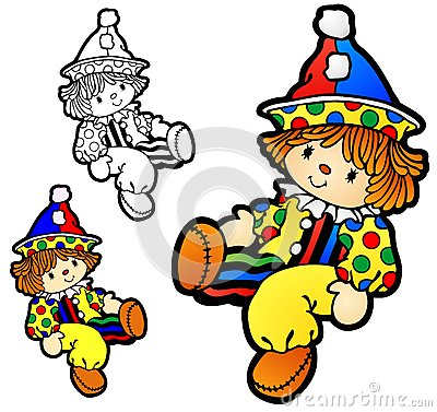 Free Boy Ragdoll With Clown Costume Royalty Free Stock Photography - 64491287