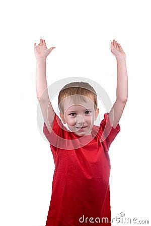 Boy raised his hands