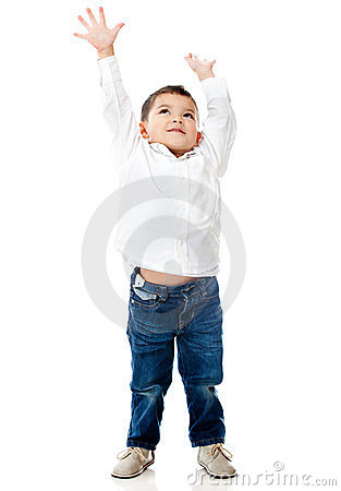 Boy reaching ceiling