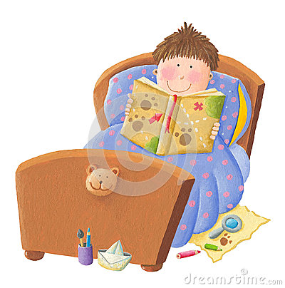 Boy reading bed time story