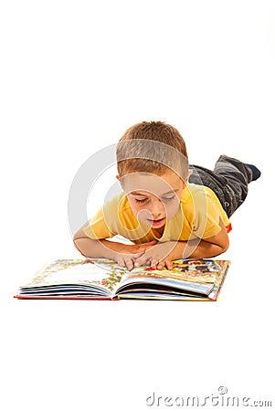 Boy reading a story