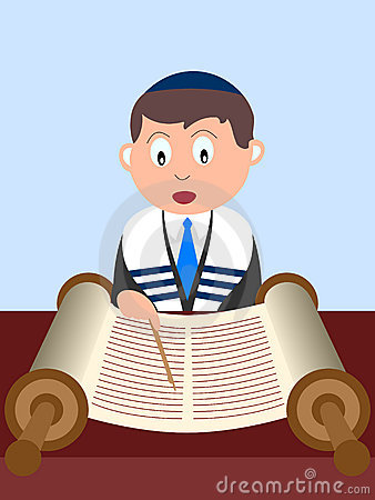 boy reading the Torah. Useful also for Bar Mitzvah invitation card ...