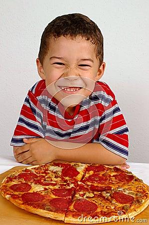 Free Boy Ready To Eat A Pizza Stock Photo - 3753500
