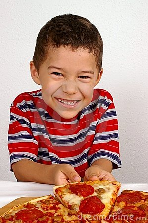 Free Boy Ready To Eat A Pizza Stock Image - 3755851
