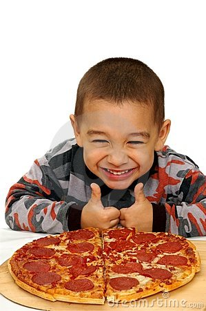 Free Boy Ready To Eat A Pizza Stock Photos - 5244313