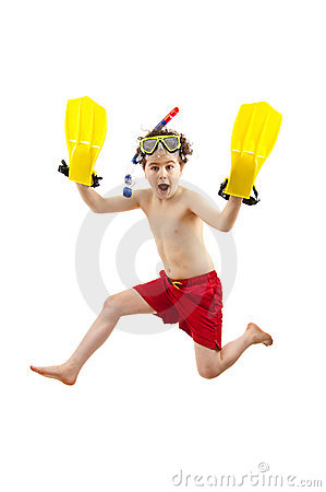 Free Boy Ready To Swim And Dive Royalty Free Stock Images - 10255949