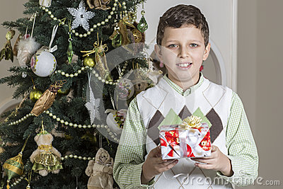 Boy receives Christmas gift