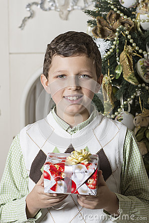 Boy receives Christmas gift