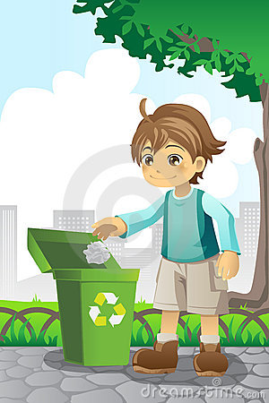 Free Boy Recycling Paper Royalty Free Stock Photos - 21936018