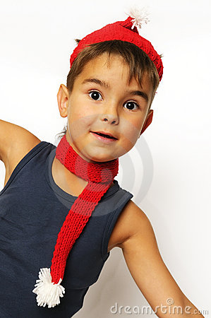Boy in a red hat and scarf