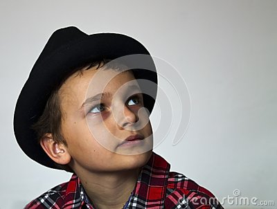 Boy with red plaid