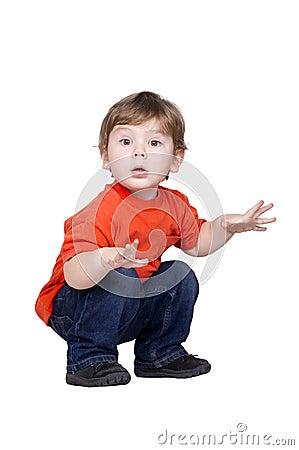 Boy in a red shirt.