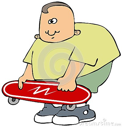 Boy with a red skateboard