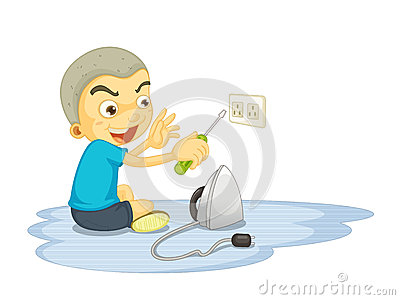 A boy repairing electric switch