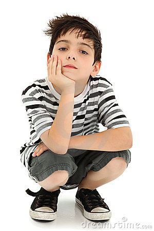 Boy Resting with Watching Expression