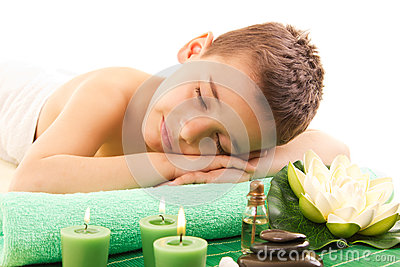 Boy rests with spa