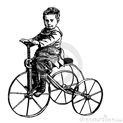 Boy on retro bicycle