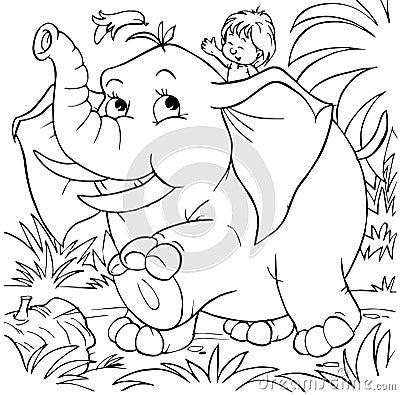 Boy rides an elephant