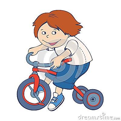 Boy riding bicycle