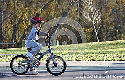 Boy riding bicycle at park