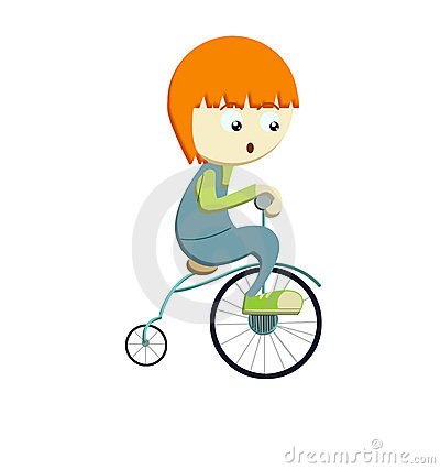 Boy riding bicyle