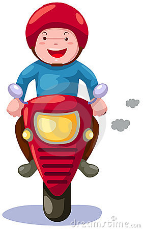 Boy riding motorcycle