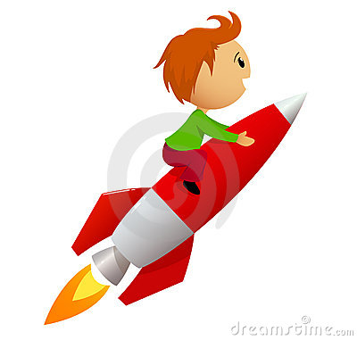 Boy riding red rocket
