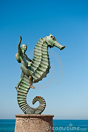 Boy Riding Seahorse Statue Royalty Free Stock Image