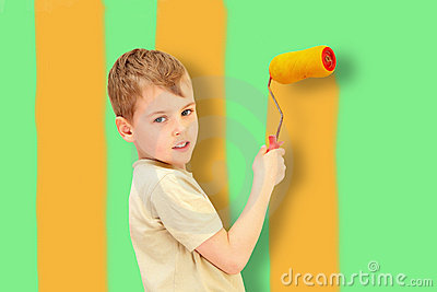 A boy with a roller draws bars, collage