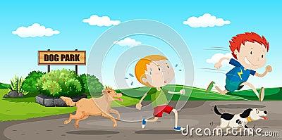 Boy run away from dog Vector Illustration