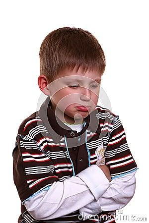 Boy with sad face