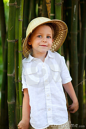 Boy in safari hat