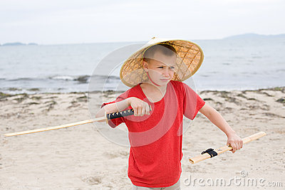 Boy with a samurai sword