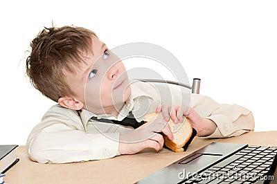 Boy with sandwich