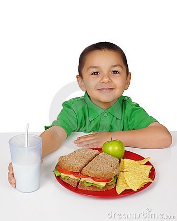 Boy with sandwich meal