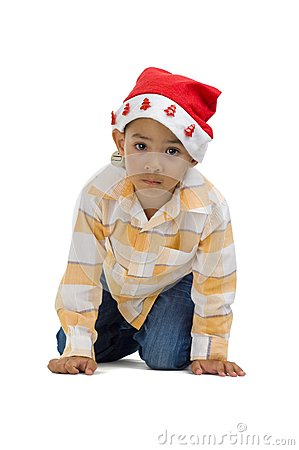 Boy with santa claus hat