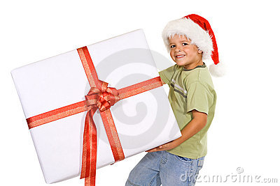 Boy with santa hat and big present