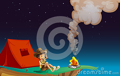 A boy scout camping near the cliff