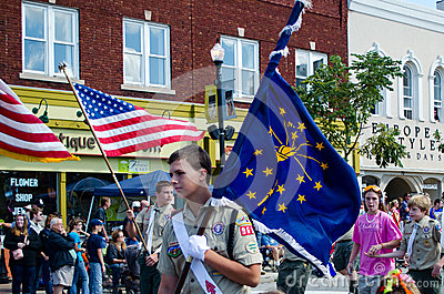 Scout and Indiana state flag