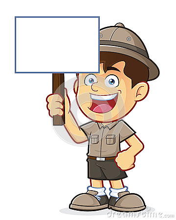 Boy Scout or Explorer Boy Holding a Blank Sign