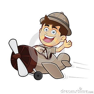 Boy Scout or Explorer Boy Riding Airplane