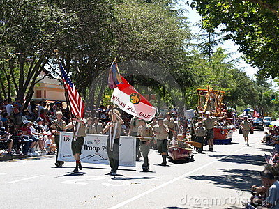 Boy Scouts in parade Editorial Stock Image