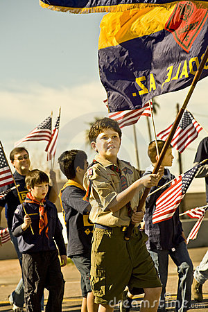 Boy Scouts in Parade Editorial Photography