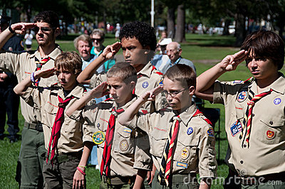 Boy Scouts at September 11th Remembrance Ceremony Editorial Photo