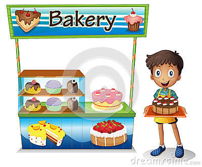 A boy selling cakes