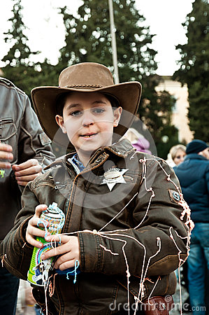 Boy sheriff fancydressed in Piazza del Popolo Editorial Photography