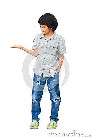 Boy showing empty hand