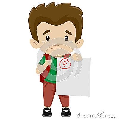 Free Boy Showing His Failed Exam Stock Photos - 70692203