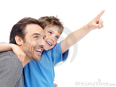 Boy showing some thing intersting to his father