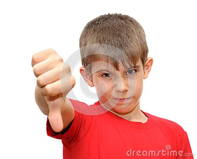 The boy shows emotion gestures
